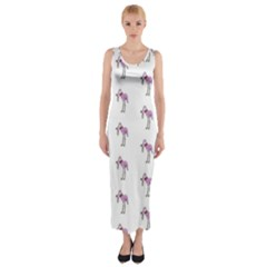 Sweet Flamingo Pattern Fitted Maxi Dress