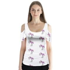 Sweet Flamingo Pattern Butterfly Sleeve Cutout Tee