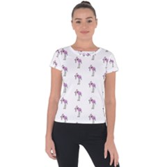 Sweet Flamingo Pattern Short Sleeve Sports Top