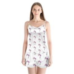 Sweet Flamingo Pattern Satin Pajamas Set