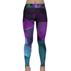 Abstract Shapes Purple Green Classic Yoga Leggings