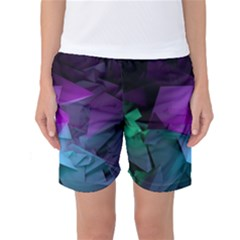 Abstract Shapes Purple Green Women s Basketball Shorts