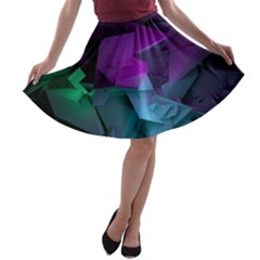 Abstract Shapes Purple Green A Line Skater Skirt