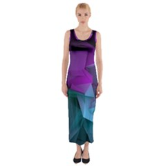 Abstract Shapes Purple Green Fitted Maxi Dress