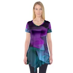 Abstract Shapes Purple Green Short Sleeve Tunic