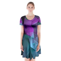 Abstract Shapes Purple Green Short Sleeve V Neck Flare Dress