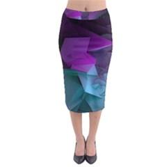 Abstract Shapes Purple Green Midi Pencil Skirt