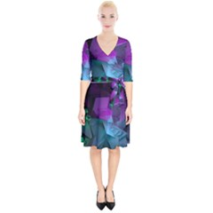 Abstract Shapes Purple Green Wrap Up Cocktail Dress