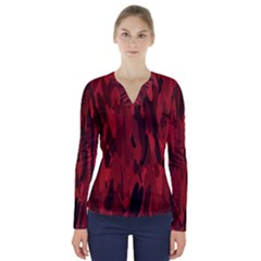 Abstract 2 V Neck Long Sleeve Top