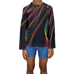 Rainbow Ribbons Kids  Long Sleeve Swimwear