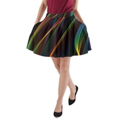 Rainbow Ribbons A Line Pocket Skirt