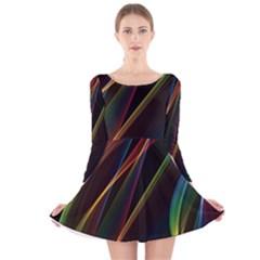 Rainbow Ribbons Long Sleeve Velvet Skater Dress