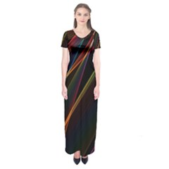 Rainbow Ribbons Short Sleeve Maxi Dress