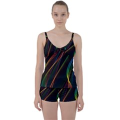 Rainbow Ribbons Tie Front Two Piece Tankini