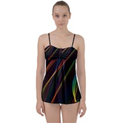 Rainbow Ribbons Babydoll Tankini Set