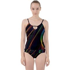 Rainbow Ribbons Cut Out Top Tankini Set