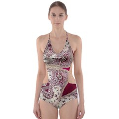Morocco Motif Pattern Travel Cut Out One Piece Swimsuit