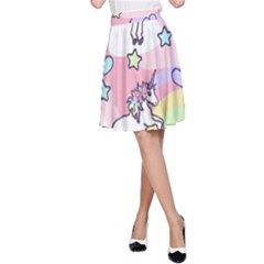 Unicorn Rainbow A Line Skirt