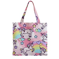 Unicorn Rainbow Zipper Grocery Tote Bag