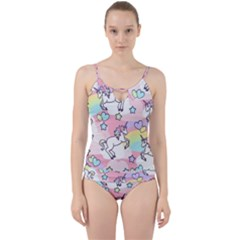Unicorn Rainbow Cut Out Top Tankini Set