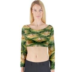 Pineapple Pattern Long Sleeve Crop Top