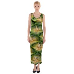 Pineapple Pattern Fitted Maxi Dress