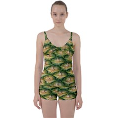 Pineapple Pattern Tie Front Two Piece Tankini