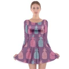 Pineapple Pattern Long Sleeve Skater Dress