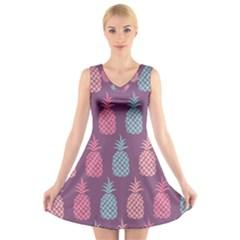 Pineapple Pattern V Neck Sleeveless Skater Dress