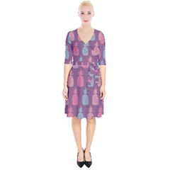 Pineapple Pattern Wrap Up Cocktail Dress