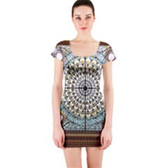 Stained Glass Window Library Of Congress Short Sleeve Bodycon Dress
