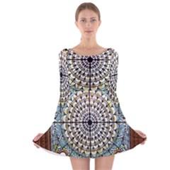 Stained Glass Window Library Of Congress Long Sleeve Velvet Skater Dress
