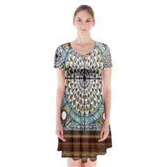 Stained Glass Window Library Of Congress Short Sleeve V Neck Flare Dress