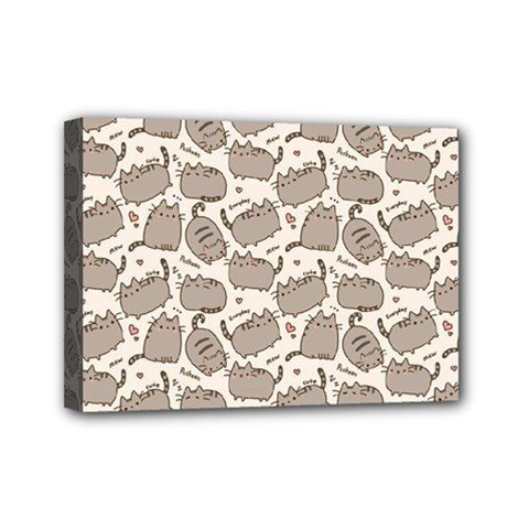 Pusheen Wallpaper Computer Everyday Cute Pusheen Mini Canvas 7  X 5