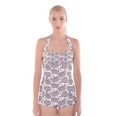 Pusheen Wallpaper Computer Everyday Cute Pusheen Boyleg Halter Swimsuit