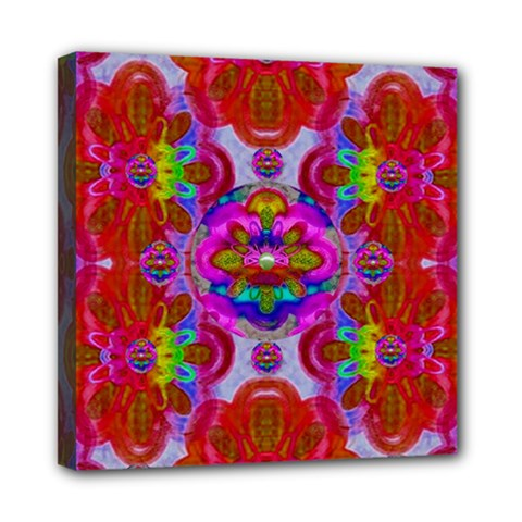 Fantasy   Florals  Pearls In Abstract Rainbows Mini Canvas 8  X 8