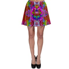 Fantasy   Florals  Pearls In Abstract Rainbows Skater Skirt
