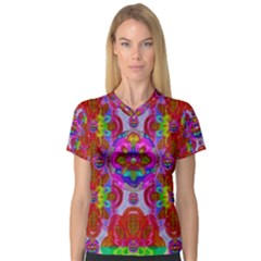 Fantasy   Florals  Pearls In Abstract Rainbows V Neck Sport Mesh Tee