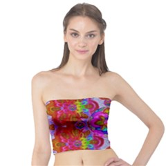 Fantasy   Florals  Pearls In Abstract Rainbows Tube Top
