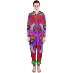 Fantasy   Florals  Pearls In Abstract Rainbows Hooded Jumpsuit (ladies)