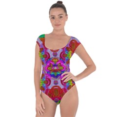 Fantasy   Florals  Pearls In Abstract Rainbows Short Sleeve Leotard