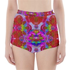 Fantasy   Florals  Pearls In Abstract Rainbows High Waisted Bikini Bottoms