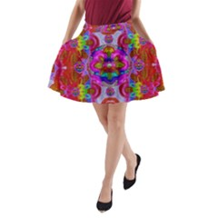Fantasy   Florals  Pearls In Abstract Rainbows A Line Pocket Skirt