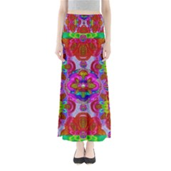 Fantasy   Florals  Pearls In Abstract Rainbows Full Length Maxi Skirt