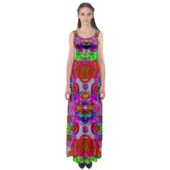 Fantasy   Florals  Pearls In Abstract Rainbows Empire Waist Maxi Dress