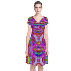 Fantasy   Florals  Pearls In Abstract Rainbows Short Sleeve Front Wrap Dress