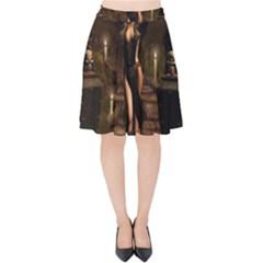 The Dark Side, Dark Fairy With Skulls In The Night Velvet High Waist Skirt