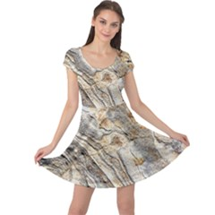 Background Structure Abstract Grain Marble Texture Cap Sleeve Dress