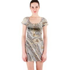 Background Structure Abstract Grain Marble Texture Short Sleeve Bodycon Dress