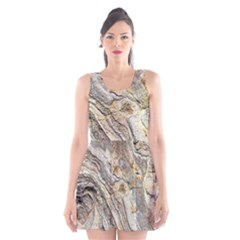 Background Structure Abstract Grain Marble Texture Scoop Neck Skater Dress